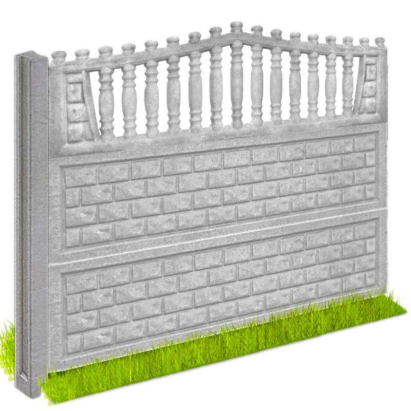 Забор бетонный «Кирпичик» 2000x500x50