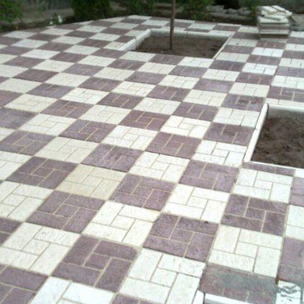 Укладка тротуарной плитки Квадрат «8 Кирпичей»